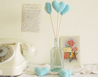 Mint Blue Heart Wedding Table Decor, Hearts on Sticks