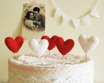 Crochet Hearts Cake Topper, Wedding Cake Decor,  A set of 5 Red and White Party Hearts