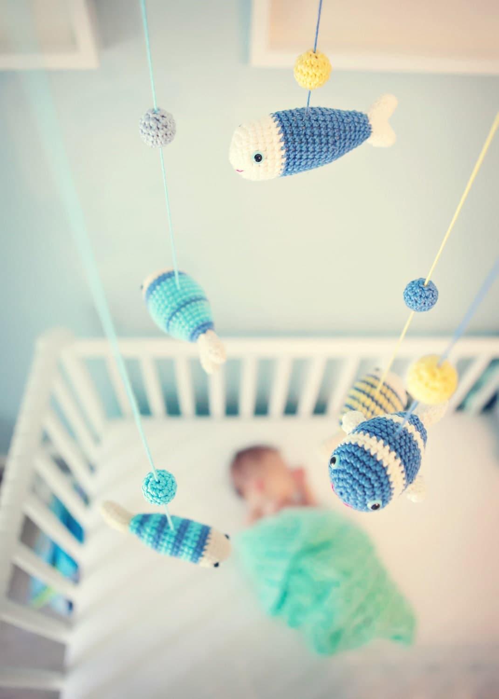 aquarium baby mobile for nautical nursery decor baby boy fish. Black Bedroom Furniture Sets. Home Design Ideas