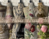 "Vintage Paris Antique Dress Forms: Cards, Tags Digital Collage Sheet, Background Cards  Printable 3"" x 5"""