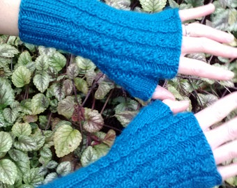 Fingerless gloves, teal wool blend, mock cable pattern, women size small/medium