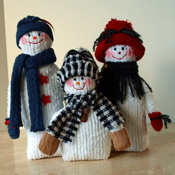 Snow Family Made From Chenille Terrycloth