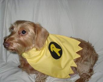 "Small Dog ""Robin"" Batdog's Sidekick Superhero Cape / Slides over the Collar Small, Medium and Large Sizes"