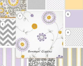 Baby Girl Crib Bedding Set..Crib Bumper, Crib Skirt..Lilac Gray