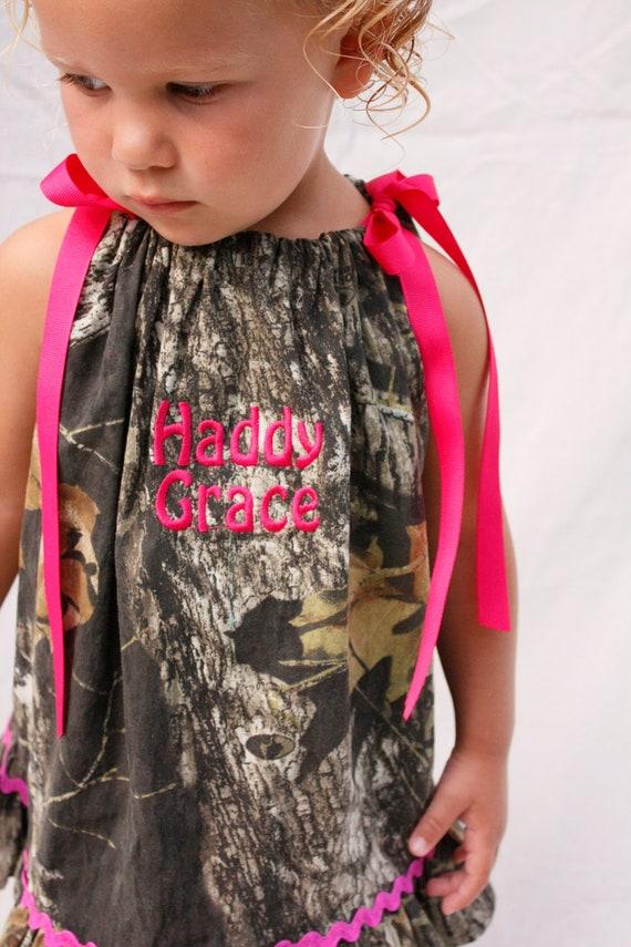baby girl camo dress monogrammed mossy oak hot pink