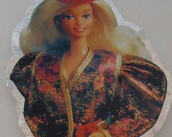 Authentic Preppy Sparkly Barbie Sticker. Over Size.80s.Rare