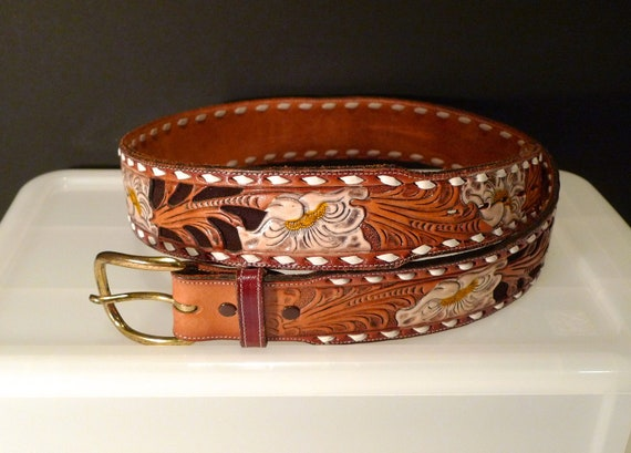 John Personalized Tooled Leather Belt Tooled Stamped Brown Leather Vintage retro Cowboy Rockabilly Western Oak Acorn Autumn Fall  FREE SHIP