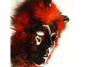 Red and black masquerade mask wild OOAK, wearable sculpture, Halloween Costume, Sexy Mask, Demon mask, horned mask