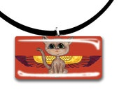 Eygptian Mau Fairy, Frixie pixie cat, Fantasy art glass tile pendant, tan tiger tabby, yellow purple red and black