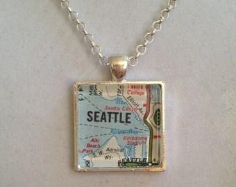 Seattle City Map Pendant Necklace