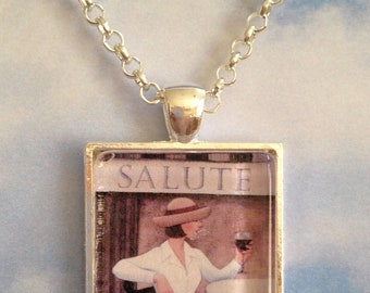 Lady with Wine Pendant Necklace