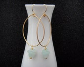 Gorgeous Gold Tear Drop Hoops with  Seafoam Green Sea Glass Chips and Gold Accent Bead Earrings