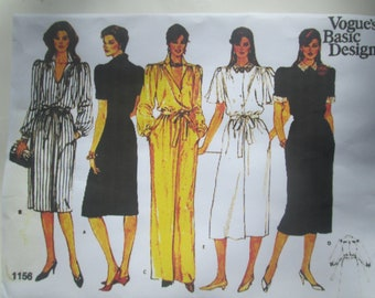 Vogue 1156 Womens A Line 80s Dress Sewing Pattern Size 8 to 12 Bust 31 1/2 to 34