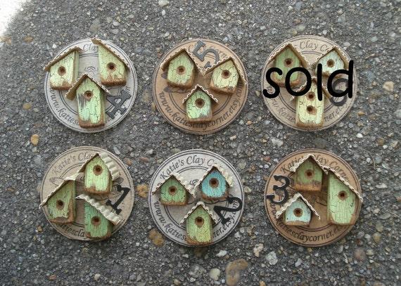 Set of 3- Dollhouse miniatures- Small Handmade Birdhouses