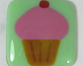 Fused Glass Magnet with Yummy Pink Cupcake