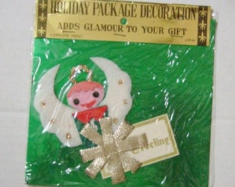 Vintage Christmas angel boy angel gift tag name tag package decoration Commodore Japan felt new in package unused