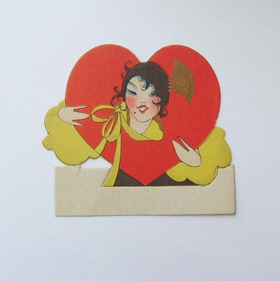Vintage Valentine Buzza Co. place card flapper in heart