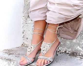 Crochet Ecru barefoot sandles, nude shoes, Flower wedding barefoot sandals, sexy, yoga, anklet, steampunk sandals, beach pool