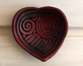 Burgundy Heart Shaped Ring Holder Dish -- Multipurpose Decorative Heart Shaped Ceramics for Wedding or Valentines