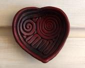 Burgundy Heart Shaped Ring Holder Dish -- Multipurpose Decorative Heart Shaped Ceramics for Wedding or Valentines