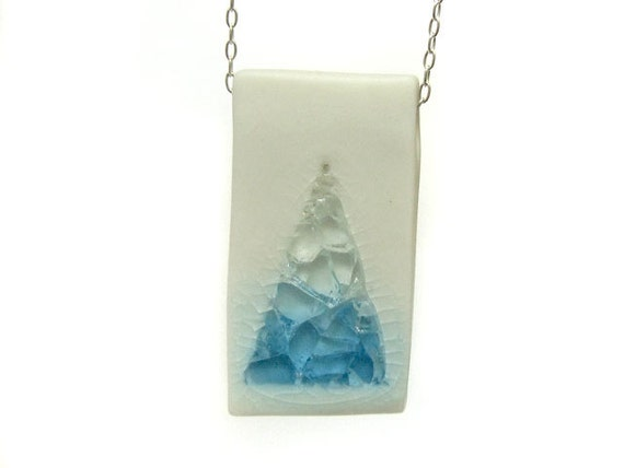 Geometric Jewelry -  Blue and White Glass Pool Porcelain Pendant Necklace