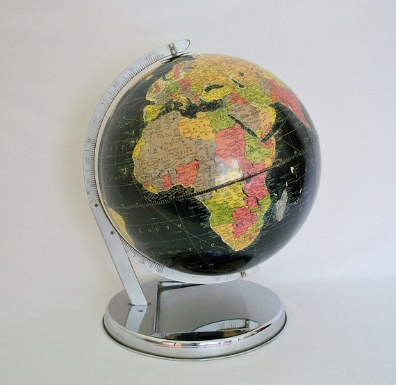 "Vintage World Globe - 1949 Replogle 12""  Starlight Black Oceans Globe w/Retro Base"