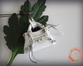 Miniature Tiny Cell Phone Bal First Bag Charm in Pearlized White Leather