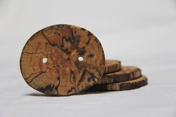 brindle - spalted yellow birch buttons - really big buttons