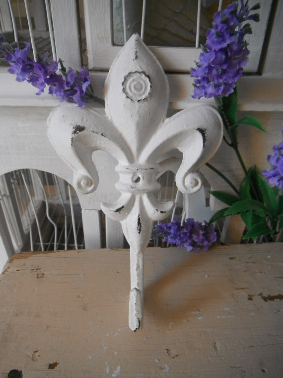 white wall hook shabby chic fleur de lys paris apartment french country hook cottage chic wall hook single hook nursery decor