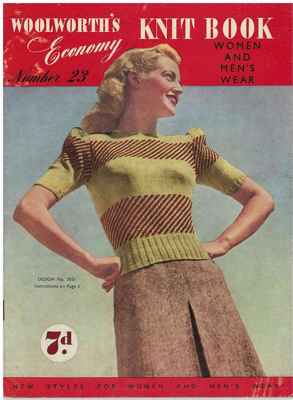 Original Woolworth's Economy Knit Book, No. 23 - knitting patterns from the 1940s