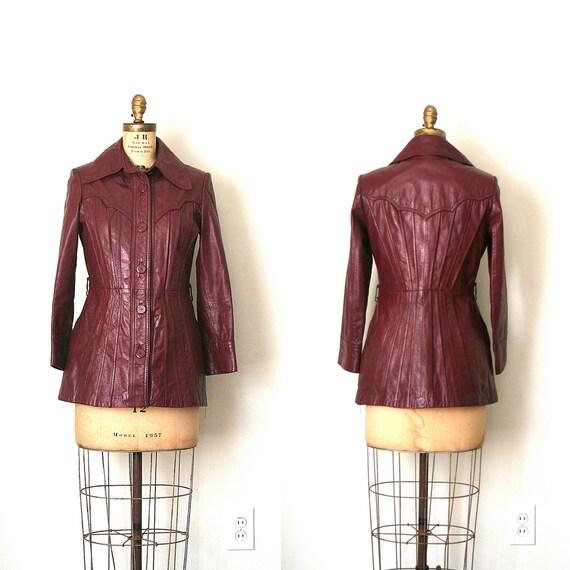 wine leather jacket - peplum / Boho Chic - cordovan / vintage 1970's
