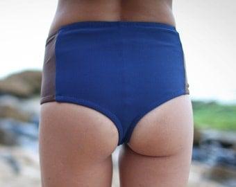 INDIE ATTIRE - High Waisted Thong Bikini Bottom - Two-Tone Navy/Brown