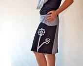 Wrap asymmetric women skirts/Black gray women bottoms/Hand made applique/party dresses