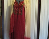 Reconstructed Recycled EcoFriendly Ladies' Dress Sz Medium Cranberry Linen with Indian Tunic Parts and Scarf