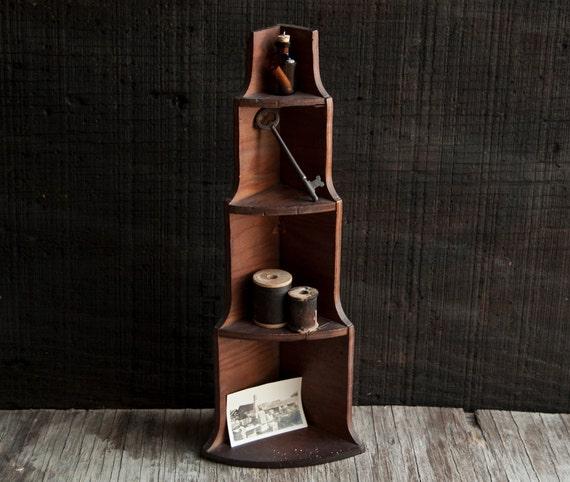 Wooden Tiered Display Shelf - Vintage Miniature Box