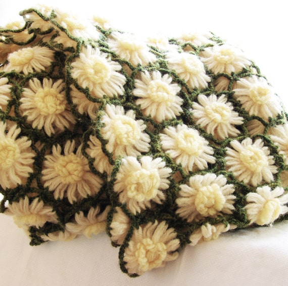 Vintage 70s Yellow Daisy Flower Afghan Throw Blanket Flower: Vintage Crochet Afghan Blanket Cozy Lap Throw Cover Green