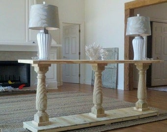Console Table Handcrafted Unfinished With 3 Balustrade Legs