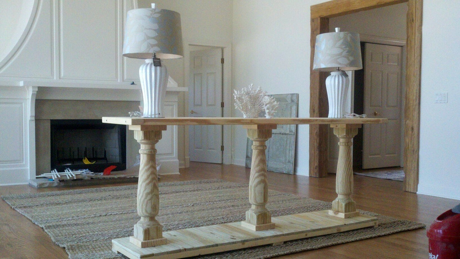 Console table handcrafted unfinished with 3 balustrade legs zoom geotapseo Image collections