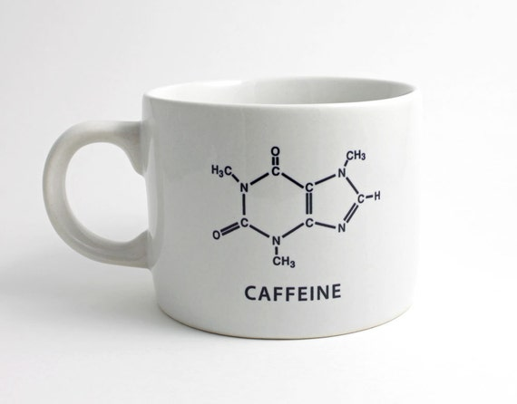 Caffeine Molecule Coffee Cup - Black and White with Caffeine Chemistry