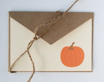 The Little Pumpkin -- Autumn Stationery Set of 4 Cards & Envelopes in Creamy Ivory