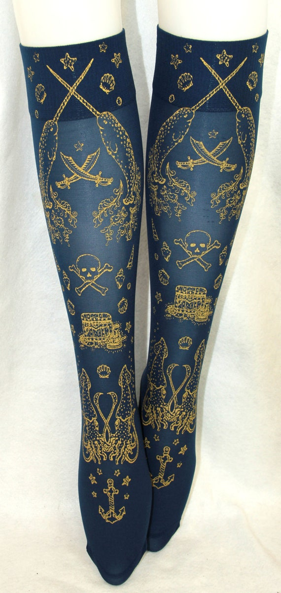 Nautical Pirate Narwhal Socks Stockings Knee High Hold Ups Printed Small Medium Gold on Navy Blue Women Anchor Octopus Sailor