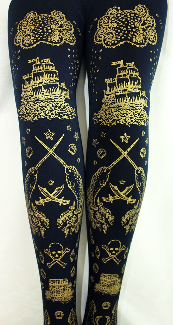 Nautical Tights Narwhals Small Medium Gold on Navy Blue Women Tattoo Tights