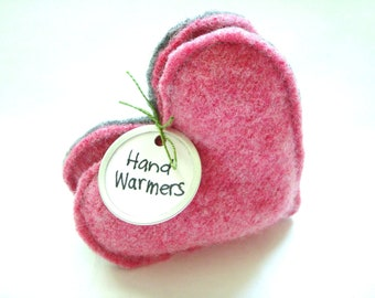 Pink Heart Hand Warmers Pink Hearts for Breast Cancer Awareness Gift Reusable Handwarmers Rice Bags Eco Gift for Women by WormeWoole