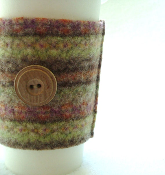 Fall Coffee Cozy Autumn Colors Fair Isle Sweater Wool Coffee Cosy