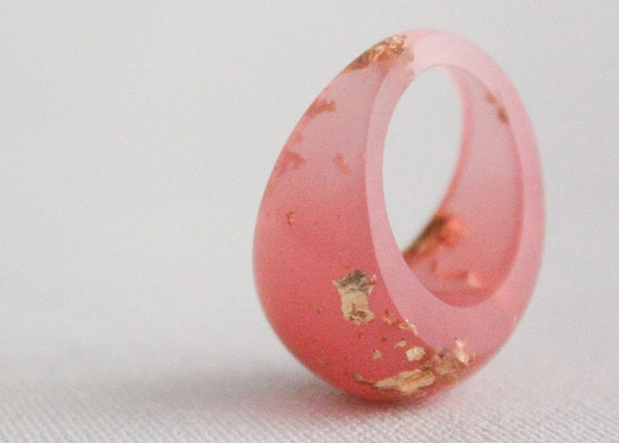honeysuckle pink and gold size 7  dome ring with suspended gold flakes eco resin
