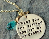 SALE Thank you For Raising The Man Of My Dreams Necklace, Gold Necklace, Valentines Day Gift Mother of the Groom, MIL Gift