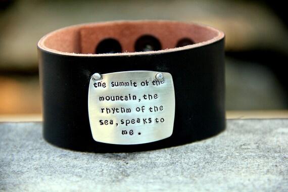 Unisex Quote Leather Cuff, Men Bracelet, Autumn, Create Own Quote, Graduation Bracelet, Personalized Ski JEwelry, Inspirational, Mountain