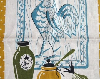 Fritz and the rooster. Lovely vtg kitchen towel, nice midcentury graphics, great condition.