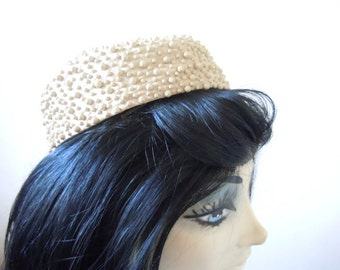 Vintage Pill Box Hat Mr. John for I. Magnin and Co. Beige Women's Accessory