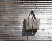 Waxed canvas carry all/ bag  with waxed leather handles and strap COLLECTION UNISEX